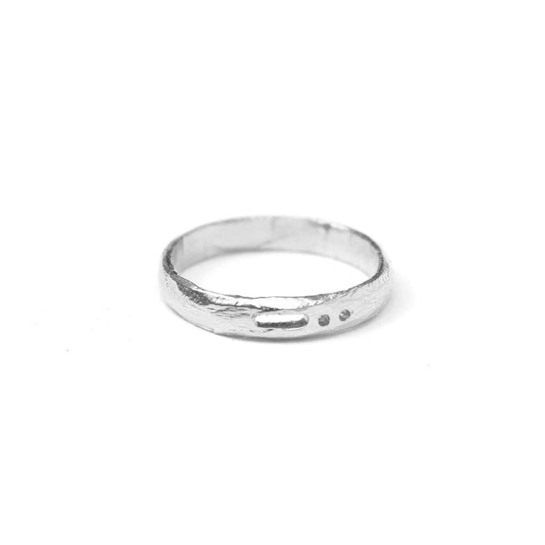 Semi-Custom Morse Code 3MM Ring, Silver Mary Frances Maker