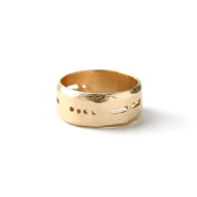Semi-Custom Morse Code 8MM Ring, Gold Mary Frances Maker
