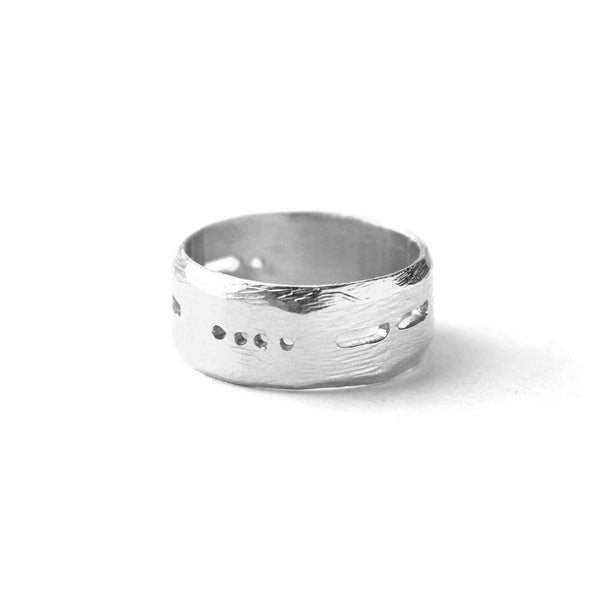 Semi-Custom Morse Code 8MM Ring, Silver Mary Frances Maker