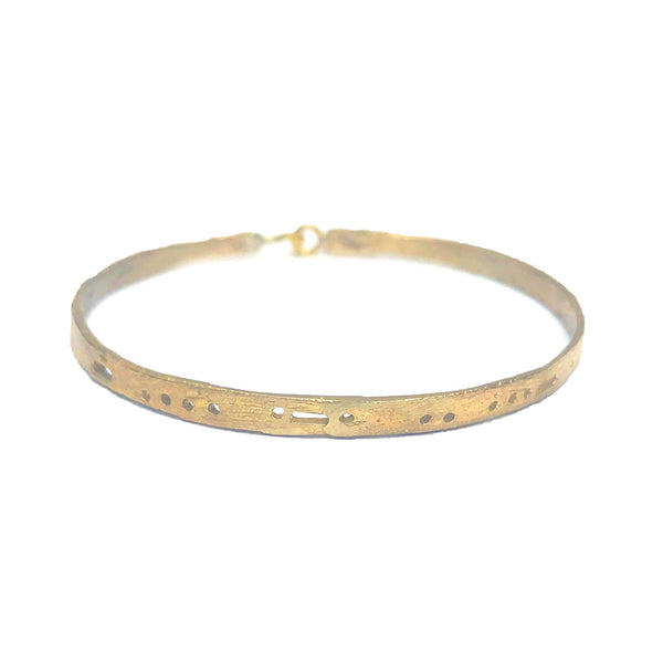 Semi-Custom Morse Code Bangle, Brass Mary Frances Maker
