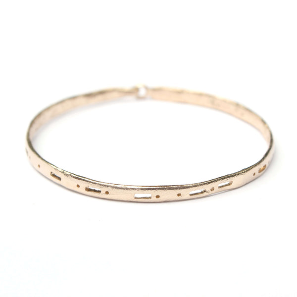 Semi-Custom Morse Code Bangle, Gold Mary Frances Maker