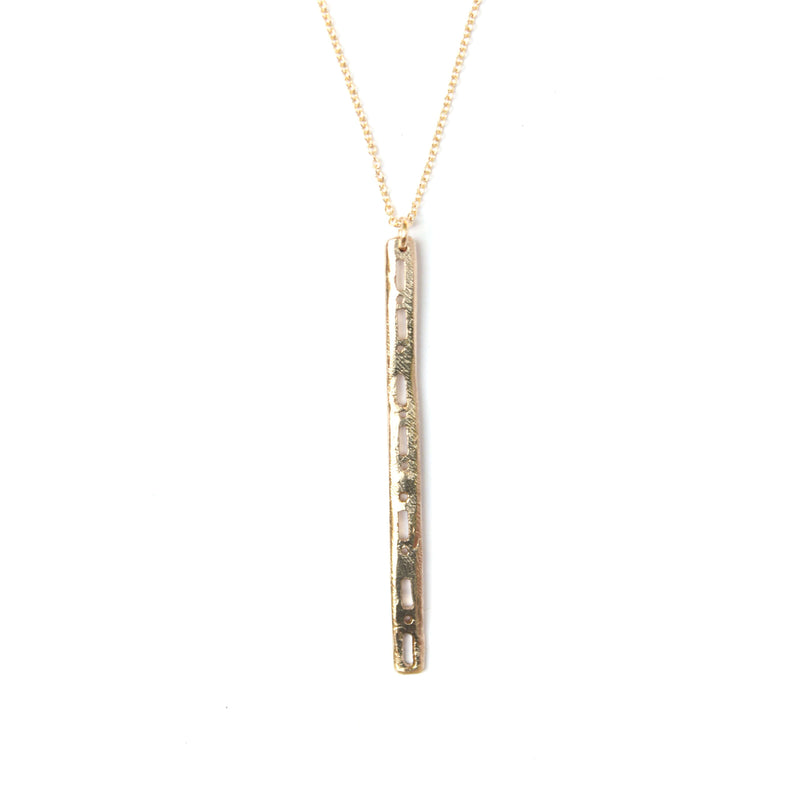 Semi-Custom Morse Code Bar Necklace, Gold Mary Frances Maker