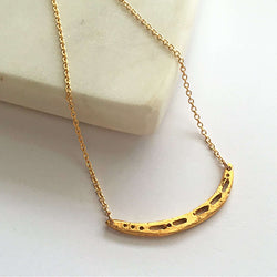 Semi-Custom Morse Code Crescent Necklace, Gold Mary Frances Maker