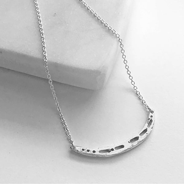 Semi-Custom Morse Code Crescent Necklace, Silver Mary Frances Maker