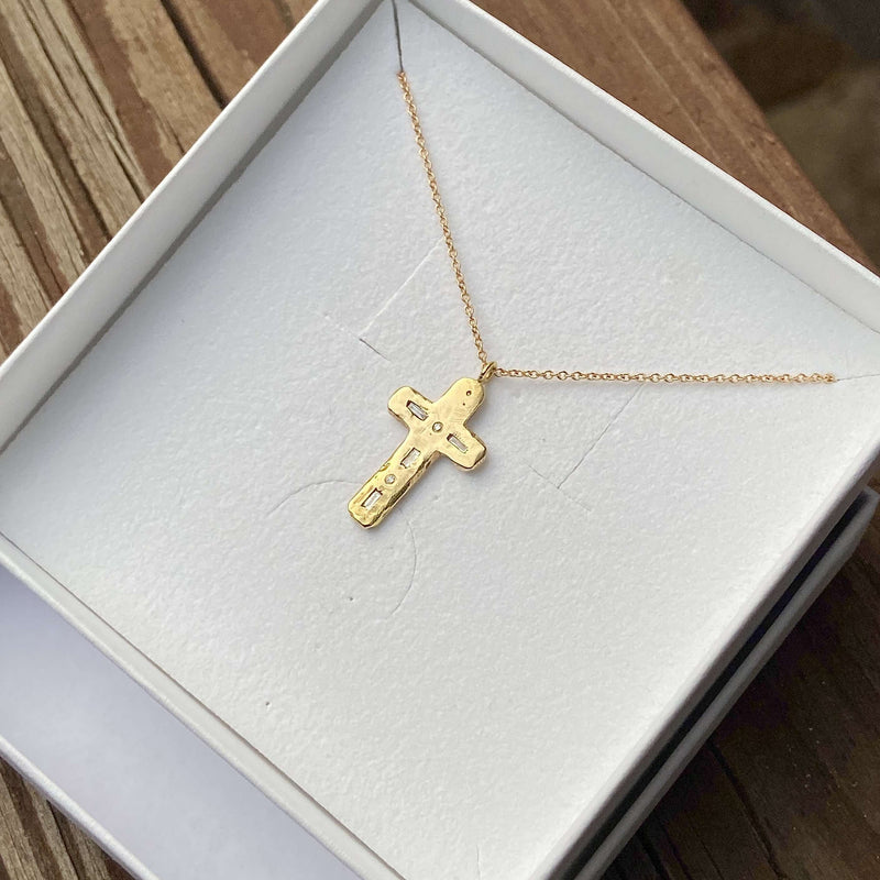 Semi-Custom Morse Code Cross Necklace, Gold Mary Frances Maker