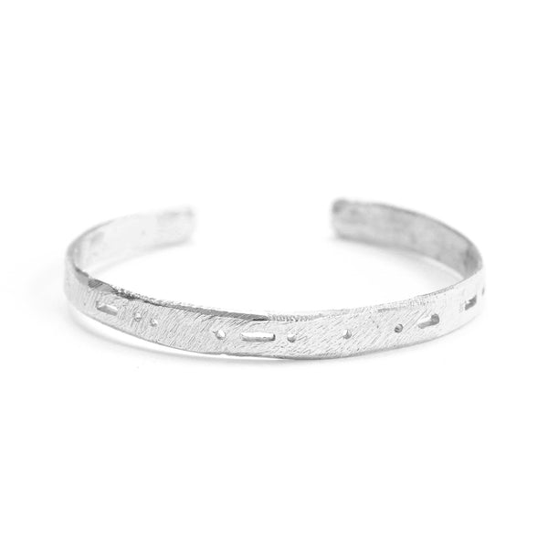 Semi-Custom Morse Code Cuff, Silver Mary Frances Maker