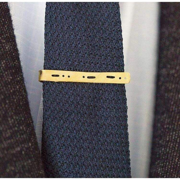 Semi-Custom Morse Code Tie Bar, Brass Mary Frances Maker