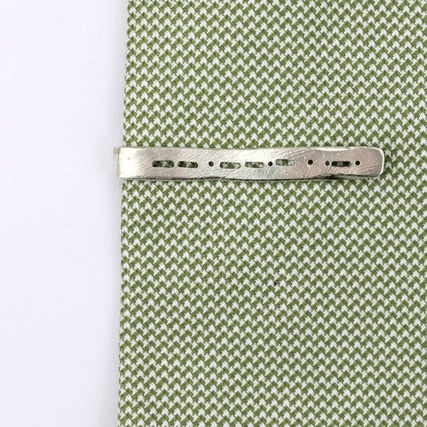 Semi-Custom Morse Code Tie Bar, Silver Mary Frances Maker