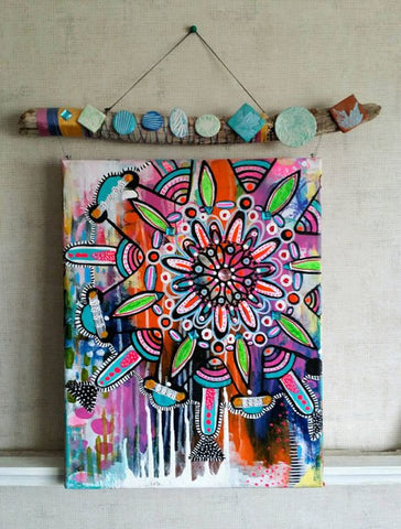 robin mead mandala on canvas with painted driftwood
