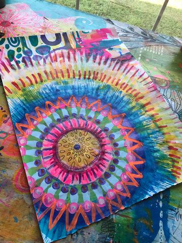 robin mead mandala on mixed media paper my messy mandala