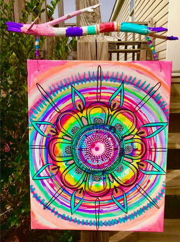 robin mead mandala on canvas with colored driftwood