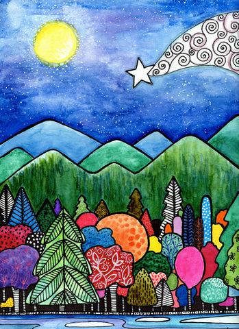 colorful trees, mountains dark blue sky, stars and shooting star, moon