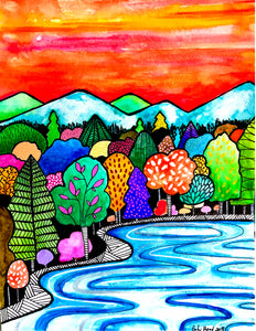 Hometown/Colorful Forest Lake Landscape