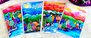 Happy Landscapes 5 x 7 card set of 4