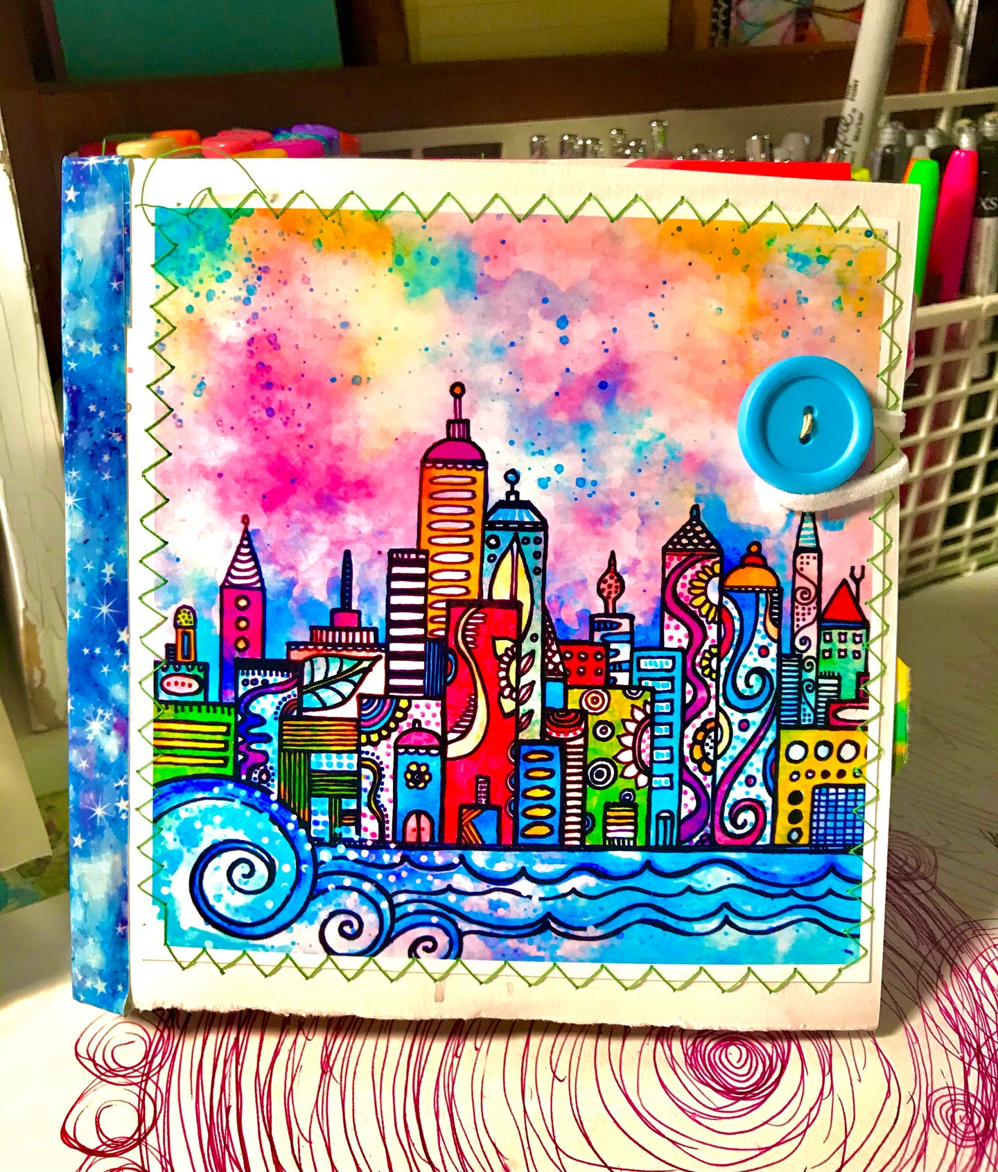 Paper Bag Journal City Lights  6 x 6Journal