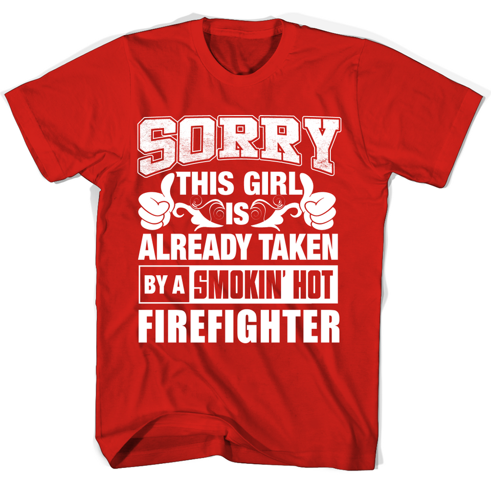 38ef43275 ... Firefighter For Girl Friend Or Wife Firefighter Couple Valentine T  Shirts-New Wave Tee ...