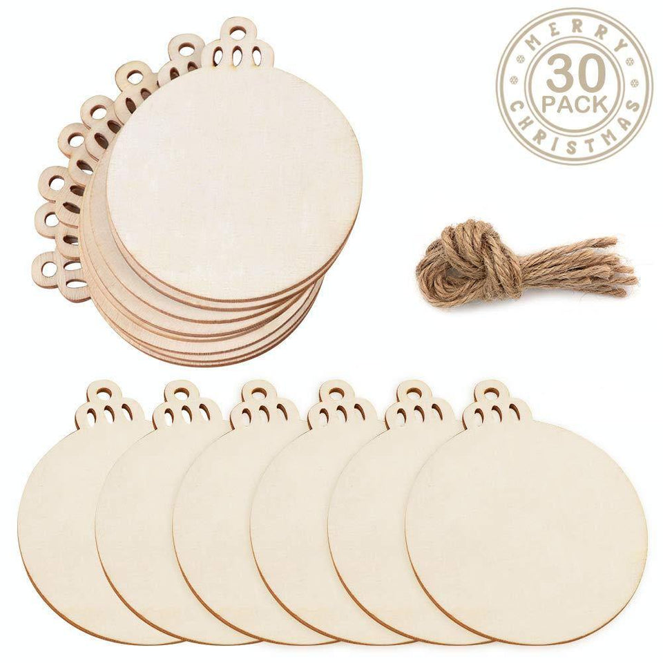 30pcs Round Wooden Discs with Holes - Wooden DIY Christmas Ornaments Hanging Decorations