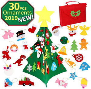 New 2019 - 3D DIY Felt Christmas Tree Set with 30pcs Ornaments, 2.23ft Christmas Tree