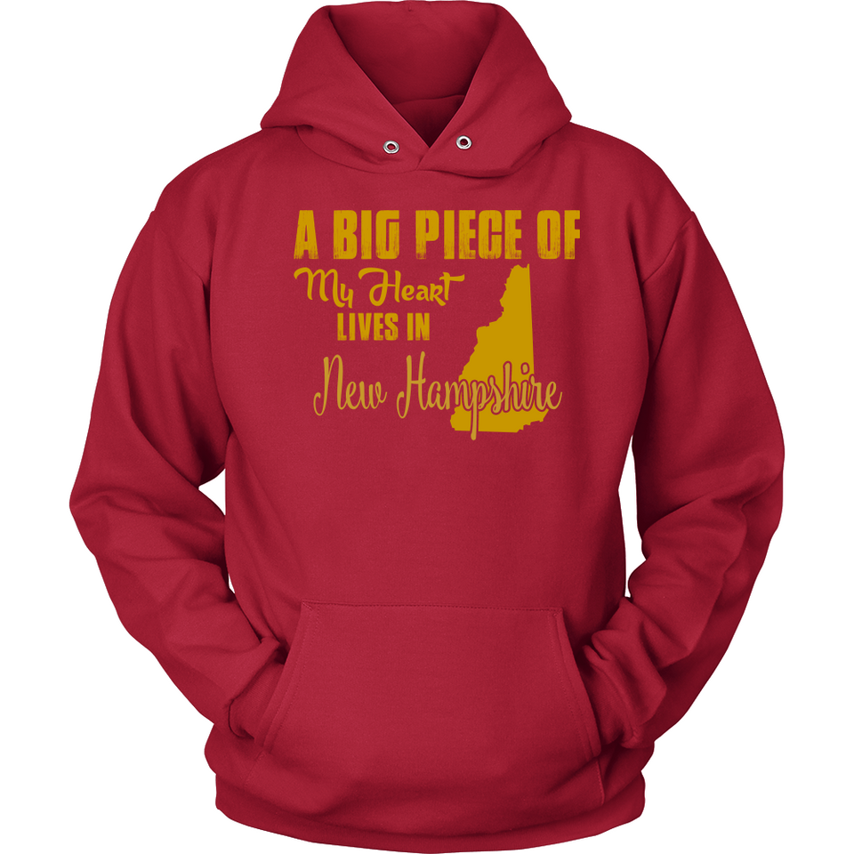 A Big Piece Of My Heart Lives In New Hampshire T Shirts-New Wave Tee