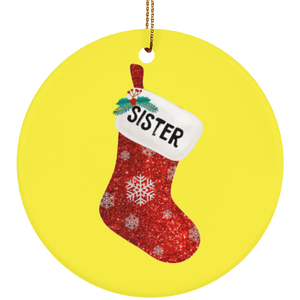 Christmas Sock Family Sister Ceramic Ornament