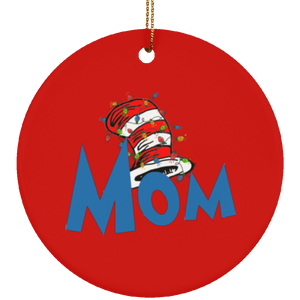 Dr Sesuss Family Christmas Mom Ceramic Ornament