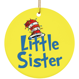 Dr Sesuss Family Christmas Little Sister Ceramic Ornament
