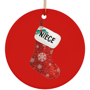 Christmas Sock Family Niece Ceramic Ornament