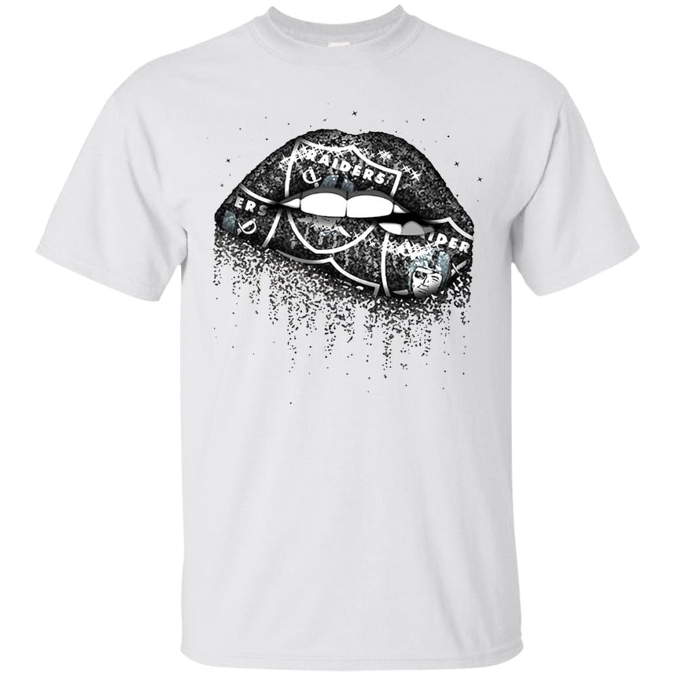 Oakland Raiders Lip Logo White Tee,