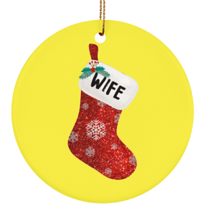 Christmas Sock Family Wife Ceramic Ornament