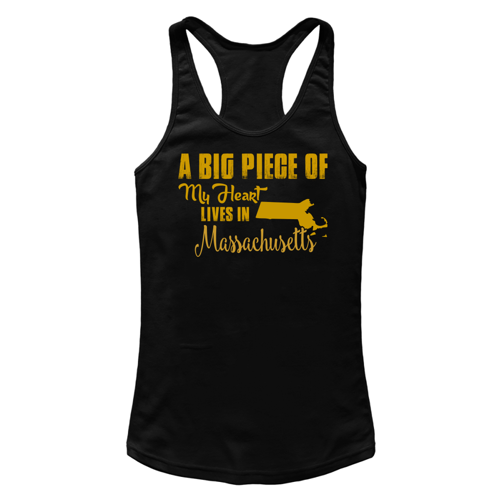 A Big Piece Of My Heart Lives In Massachusetts T Shirts-New Wave Tee