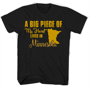 A Big Piece Of My Heart Lives In Minnesota T Shirts-New Wave Tee