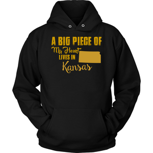 A Big Piece Of My Heart Lives In Kansas T Shirts-New Wave Tee