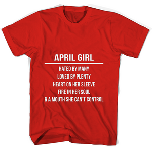April Girl Hated By Many Loved By Plenty Heart On Her Sleeve Fire In Her Soul A Mouth She Cant Control Mug T Shirts-New Wave Tee