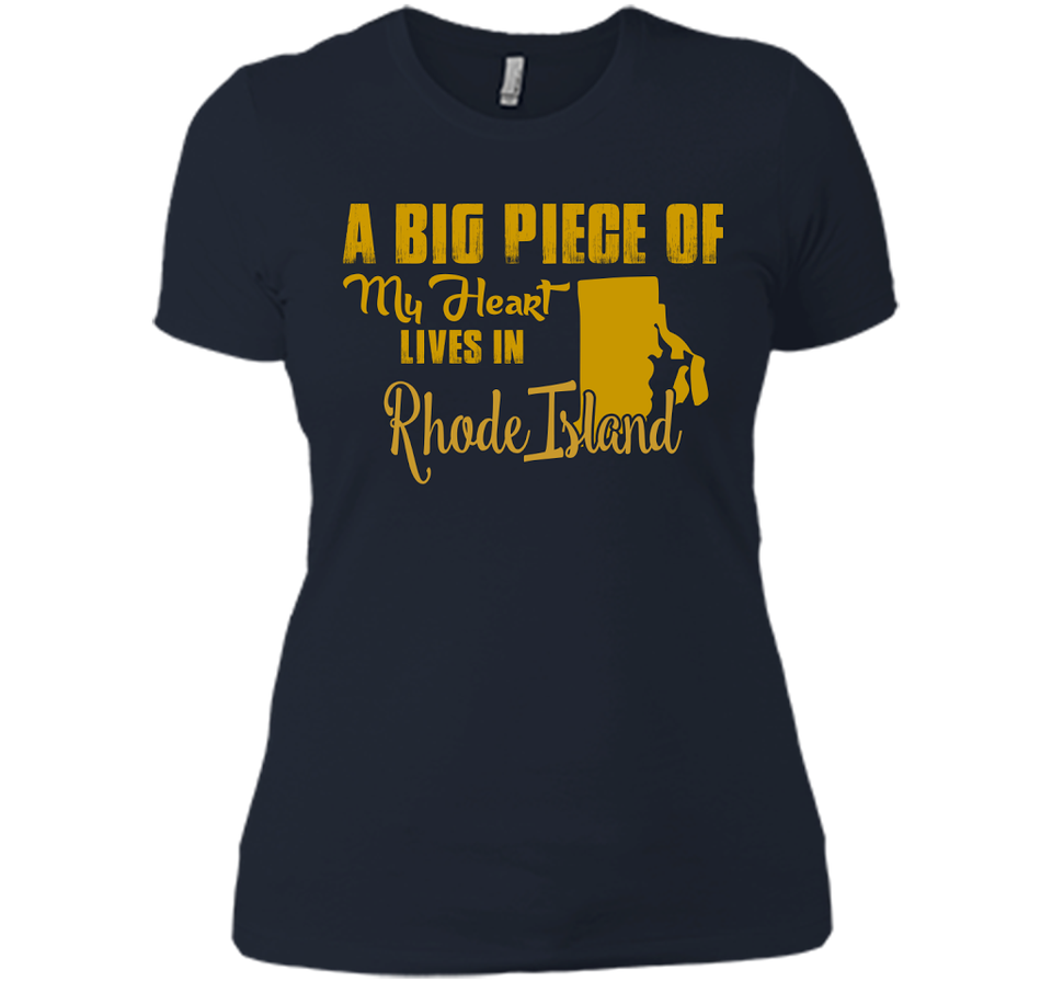 A Big Piece Of My Heart Lives In Rhode Island T Shirts-New Wave Tee