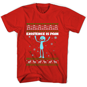 Merry Christmas Existence Is Pain T Shirts-New Wave Tee