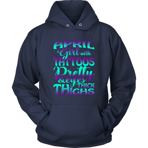 April Girl With Tattoos Pretty Eyes Thick Thighs T Shirts-New Wave Tee