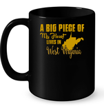 A Big Piece Of My Heart Lives In West Virginia T Shirts-New Wave Tee