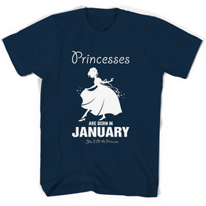 Princesses Are Born In January T Shirts-New Wave Tee