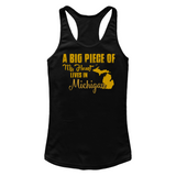 A Big Piece Of My Heart Lives In Michigan T Shirts-New Wave Tee