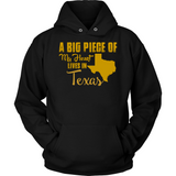 A Big Piece Of My Heart Lives In Texas T Shirts-New Wave Tee