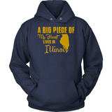 A Big Piece Of My Heart Lives In Illinios T Shirts-New Wave Tee