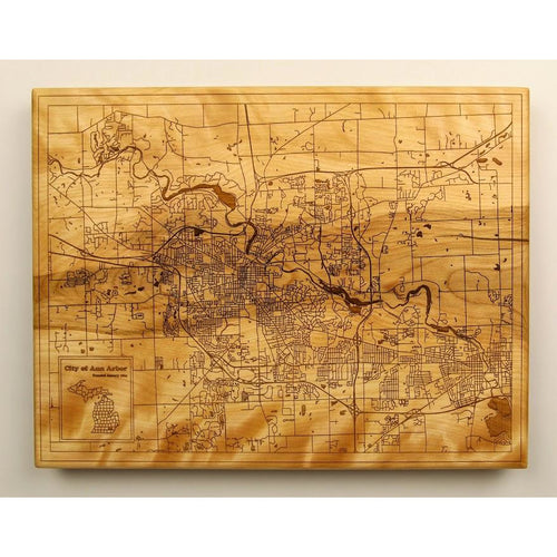 Ann Arbor Wood Map | Flame Birch - Blue Dot Maps