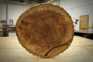 Live Edge Round Detroit Map | Ash - Blue Dot Maps