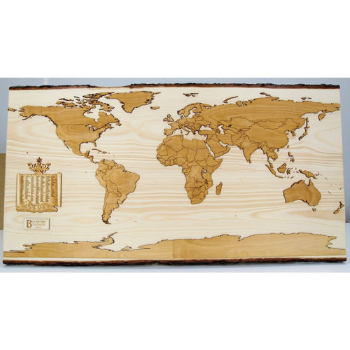 Live Edge World Map | Book-matched Spruce Slab - Blue Dot Maps