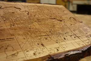 Live Edge Ann Arbor Wood Map | Cherry - Blue Dot Maps