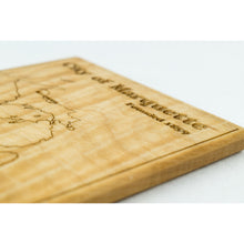 Marquette Coaster | Curly Maple - Blue Dot Maps