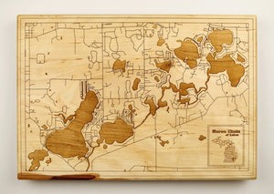 Huron Chain of Lakes Wood Map | Flame Birch