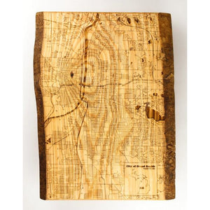 Live Edge Grand Rapids Wood Map | Michigan | Ash - Blue Dot Maps