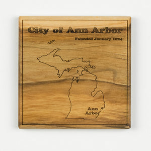 Ann Arbor Coaster | Soft Maple - Blue Dot Maps