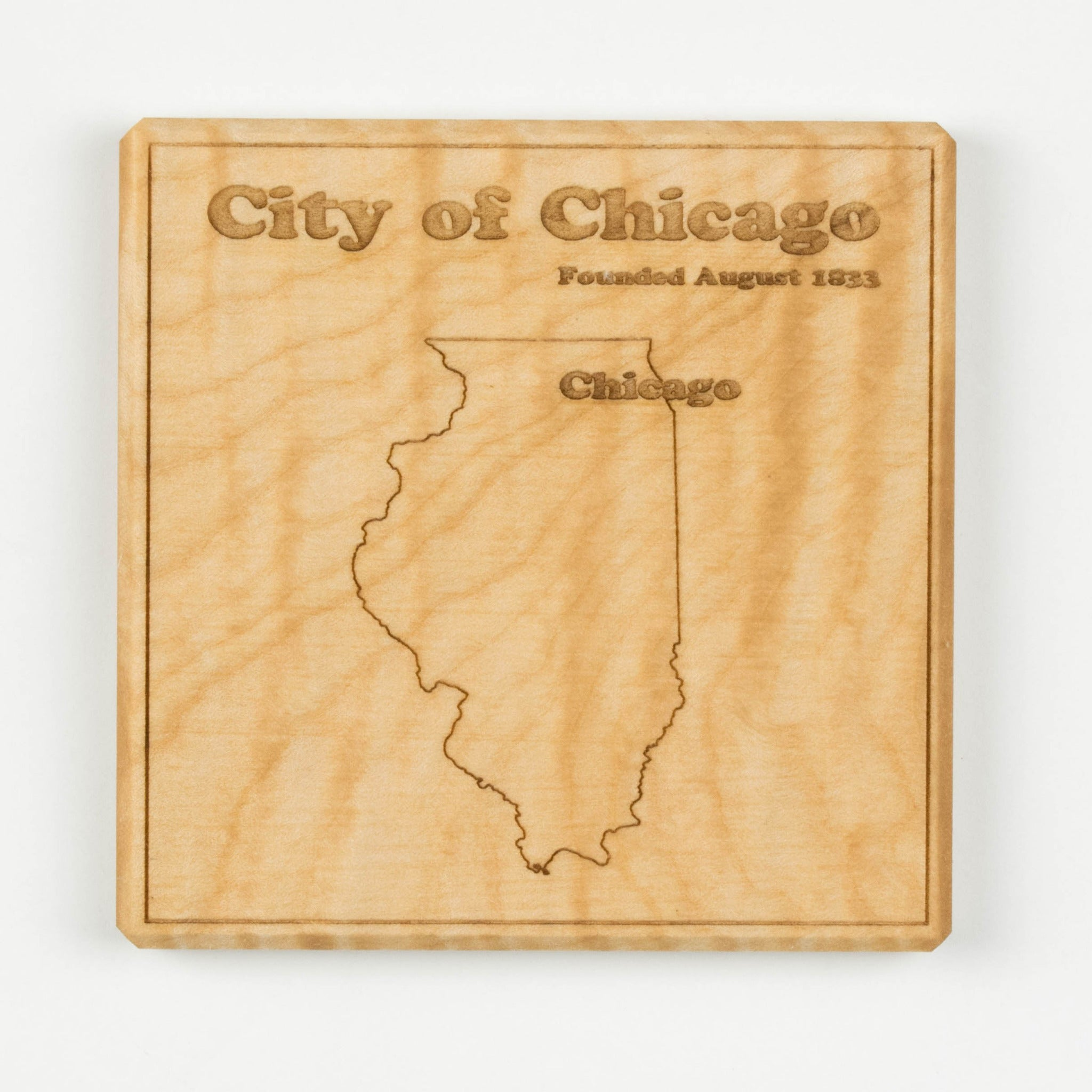 Chicago Coaster | Curly Maple - Blue Dot Maps